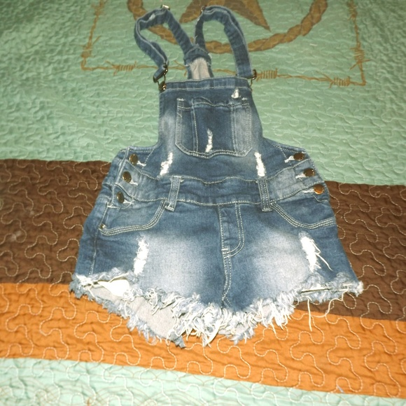 American Bazi Pants - Distressed short overalls